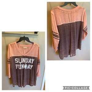 "Maurices ""Sunday Funday"" Football V-Neck Tee"